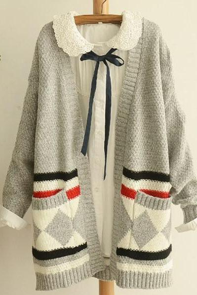 Free Shipping Grey Mori Simple Cardigan Sweater #153456